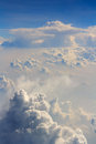 Fluffy clouds aerial sky view background