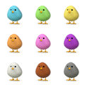 Fluffy colorful chicks isolated white d render Stock Photo