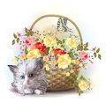 Fluffy kitten and basket with roses illustration of the Stock Photography