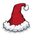 Fluffy santa s hat vector illustration on white background Stock Photos