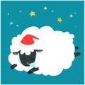 Fluffy sheep cartoon sleeping at night sky with star . Royalty Free Stock Photo