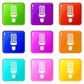 Fluorescence lamp icons 9 set