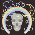 A fluorescent lighting skull with rainbow stars clouds and moon