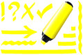 Fluorescent marker yellow plus some fluorescing signs like call sign question mark tick mark arrow and underlining Royalty Free Stock Photo