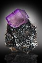 Fluorite crystal flourite perched on sphalerite matrix from elmwood tennessee Royalty Free Stock Images