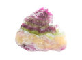 Fluorite or fluospar variegated banded specimen of used as a flux mineral in industry and as a metaphysical stone to aid the Royalty Free Stock Photos