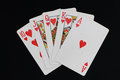 Flush photograph of a straight in poker game Royalty Free Stock Photo