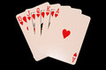 Flush royal photo of playing card on the black background Royalty Free Stock Image