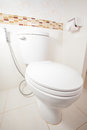 Flush toilet bowl in a modern bathroom Royalty Free Stock Images