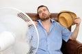 Flushed man feeling hot Royalty Free Stock Photo