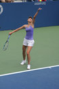 Flushing ny august four times grand slam champion maria sharapova practices us open louis armstrong stadium billie jean king Royalty Free Stock Photo