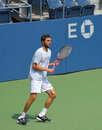 Flushing ny august professional tennis player gilles simon practices us open louis armstrong stadium billie jean king national Stock Photos