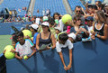 Flushing ny august tennis fans waiting autographs billie jean king national tennis center august flushing ny us open final grand Royalty Free Stock Photos