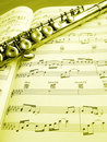 Flute music instrument and score Royalty Free Stock Photo