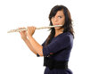 Flutist female isolated on white Royalty Free Stock Images