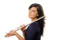 Flutist female isolated on white Stock Photography