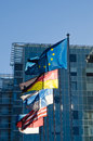 Fluttering flags of the European Union Stock Photography