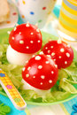 Fly agaric made from egg and tomato Stock Image