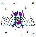 Fly bright cartoon clouds and star fantasy illustration Stock Photo
