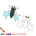 Fly cartoon. Page to be colored. Royalty Free Stock Photo