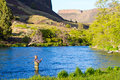 Fly fisherman deschutes river an experienced wades in the water while fishing the in oregon Stock Images