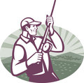 Fly Fisherman Fishing Retro Woodcut Royalty Free Stock Images