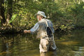 Fly fisherman with net Royalty Free Stock Photography