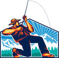 Fly fisherman reeling fishing rod retro illustration of a casting and reel viewed from with trees and snow mountains in background Stock Photos