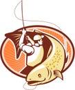 Fly Fisherman Reeling Trout Fish Retro Royalty Free Stock Photo