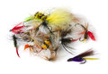 Fly fishing lures various nymphs dry flies and streamers isolated on white Stock Image
