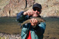 Fly fishing in Mongolia -  grayling fish Stock Photo
