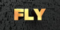 Fly - Gold text on black background - 3D rendered royalty free stock picture Royalty Free Stock Photo