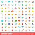 100 fly icons set, cartoon style