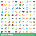 100 fly icons set, isometric 3d style