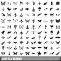 100 fly icons set, simple style