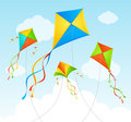 Fly Kite Summer Background. Vector Royalty Free Stock Photo