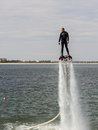 Flyboard aerobatics by jetski freestyle team during at aeronautic show morii lake bucharest Stock Photos