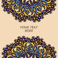 Flyer with Floral mandala pattern and ornaments. Oriental design layout template, Royalty Free Stock Photo