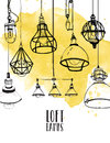 Flyer with modern edison loft lamps, vintage, retro style light bulbs. Hand drawn vector background