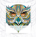 Flyer template with patterned head of owl.