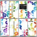 Flyers set. Abstract colorful business background, modern stylish hexagonal and triangle vector texture Royalty Free Stock Photo