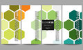Flyers set. Abstract colorful business background, modern stylish hexagonal vector texture Royalty Free Stock Photo
