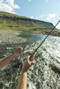 Flyfisherman close up man fishing for salmon in a beautiful surrounding Royalty Free Stock Images