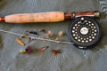 Flyfishing gear flyrod reel line and flies for trout fishing Stock Image
