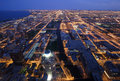 Flyg- chicago nighttimesikt Royaltyfri Bild