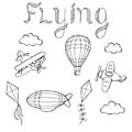 Flying airplane balloon airship kite cloud graphic art black white isolated illustration Royalty Free Stock Photo