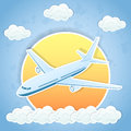 Flying airplane the and clouds on sky background illustration Royalty Free Stock Photography