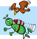 Flying alien cartoon illustration of funny or martian comic character with bird Stock Photos