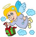 Flying angel with gift Stock Images