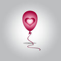 Flying balloon with heart flight on a white background Stock Photos